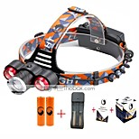 U'King® ZQ-X814R#3-EU Three Head 1*T6/2*XPE 5000LM Zoomable Multifunction 4Modes Headlamp Bike Light Kits with Safety Rear LED
