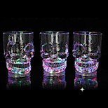 LED Glowing Skull Shape Acrylic Wine Glass Party Pub Beer Cup Mugs Random Color