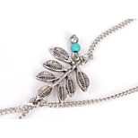 Women's Anklet/Bracelet Alloy Fashion Hypoallergenic Simple Style Leaf Silver Women's Jewelry Party Daily Casual 1pc