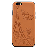 For Embossed Eiffel Tower Pattern PU leather and Black TPU Combo Soft Phone Case for iPhone 7 Plus 7 6S Plus 6