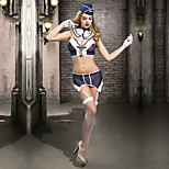 Cosplay Costumes Party Costume Sexy Sailor/Navy Pilot Festival/Holiday Halloween Costumes White Blue Patchwork LaceTop Cravat Gloves Stockings