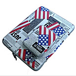 For Apple MacBook Pro/Air 11.6 13.3 12 Inch Sleeves with Charger Pack Laptop Bag Simple Leisure Style Notebook Bag Solid Color Flag Pattern
