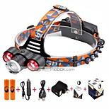 U'King® ZQ-X814R#-US Three Head 1*T6/2*XPE 5000LM Zoomable Multifunction 4Modes Headlamp Bike Light Kits with Safety Rear LED