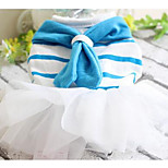 Dog Dress Dog Clothes Spring/Fall Solid Cute Cowboy Casual/Daily Blue Blushing Pink