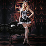 Cosplay Costumes Party Costume Sexy Maid Costumes Festival/Holiday Halloween Costumes White Black Patchwork LaceDress Gloves Stockings Briefs