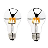 2PCS 6W B22/E27 Half Silver LED Filament Bulbs G60 6 COB 600 lm Warm White Dimmable AC 220-240 AC 110-130 V