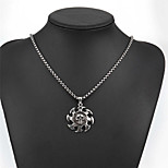 Men's Pendant Necklaces Titanium Steel Round Skull / Skeleton Basic Circular Fashion Silver Jewelry Daily Casual 1pc
