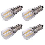 1.5W E14 Ampoules à Filament LED 2 COB 100 lm Blanc Chaud Décorative AC220 V 4 pièces