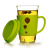 Transparent Drinkware, 400 ml Heat-Insulated Glass Silicone Juice Water Tea Cup
