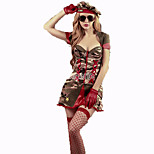 Cosplay Costumes Police Festival/Holiday Halloween Costumes Red Brown Green Solid Top Skirt Carnival Female Terylene Polyester