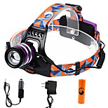 U'king ZQ-G70000CPurple CREE T6 LED 2000LM 3Mode Adjustable Focus Headlamp Bike Light Kit for Camping/Hiking/Caving Everyday Use Cycling