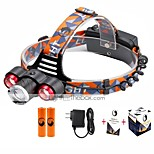 U'King® ZQ-X814R#5-US Three Head 1*T6/2*XPE 5000LM Zoomable Multifunction 4Modes Headlamp Bike Light Kits with Safety Rear LED