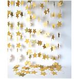 RayLineDo® 1 Piece 4 Metres Golden Paper Garland For Wedding Birthday Anniversary Party Christmas Girls Room Decoration Stars Shape 10*10CM