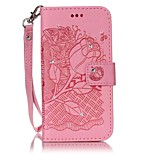 For iPhone 7 7 Plus Card Holder Wallet Rhinestone Flip Embossed Case Full Body Case Flower Hard PU Leather for iPhone 7 7 Plus 6 6 Plus 5 5S SE