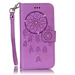 For Card Holder Wallet Rhinestone Flip Embossed Case Full Body Case Dream Catcher Hard PU Leather for iPhone 7 7 Plus 6 6 Plus 5 5S SE