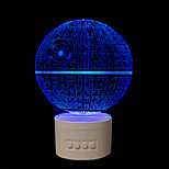 1 st i fem färger ursprungliga hushålls gåvor bluetooth audio knopp drivna kontroll 3d nattlampa