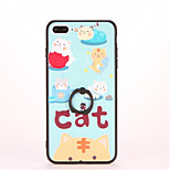 For Ring Holder Embossed Pattern Case Back Cover Case Cat Hard PC for Apple iPhone 7 Plus iPhone 7 iPhone 6s Plus iPhone 6 Plus iPhone 6s