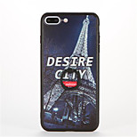 For Ring Holder Embossed Pattern Case Back Cover Case Eiffel Tower Hard PC for Apple iPhone 7 Plus iPhone 7 iPhone 6s Plus iPhone 6 Plus