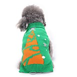 Cat Dog Sweater Dog Clothes Winter Floral / Botanical Cute Fashion Christmas Green Christmas Tree Pet Clothing