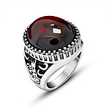 Men Rings Retro Animal Relief Red And Black Created Agate Men Domineering Ring Exquisite Titanium Steel Vintage Fashion Jewelry