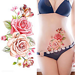 1piece Indian Arabic Fake Temporary Tattoos Stickers Rose Flowers Arm Shoulder Tattoo Waterproof