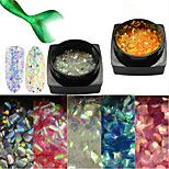 1Bottle Fashion Glitter Fish Scale Slice Nail Art Decoration Paillette Colorful Glitter Thin Slice Laser Nail Art Mermaid Hexagon Paillette LP01-11
