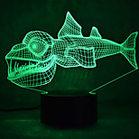 Christmas Fish Touch Dimming 3D LED Night Light 7Colorful Decoration Atmosphere Lamp Novelty Lighting Christmas Light
