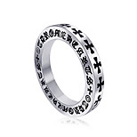 Ring Punk Titanium Steel Round Silver Jewelry For Daily 1pc