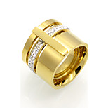 16mm Width Brand Design Cubic Zircon 316L Stainless Steel Rings For Women Gold Plated Party Jewelry