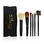 6 Makeup Brush Set Horse Synthetic Hair Portable Wood Face Eye Lip