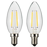 2PCS 2W E14/E12  LED  Filament Bulbs C35 2 COB 200 lm Warm White Dimmable AC 220-240 AC 110-130 V