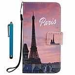 For Case Cover Card Holder Wallet with Stand Flip Pattern Full Body Case With Stylus Eiffel Tower Hard PU Leather for Apple iPhone 7 Plus 7 6s Plus 6s