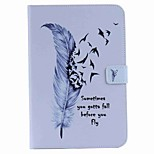 For Card Holder Wallet with Stand Auto Sleep/Wake Flip Pattern Case Full Body Case Feathers Hard PU Leather for Apple iPad Mini 4 iPad Mini 3/2/1