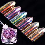 6box  Chameleon Holo Nail Flakes 0.2g Powder Laser Nail Sequins Holographic Glitter Paillette