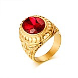 Ring Vintage Steel Oval Red Jewelry For Daily 1pc