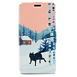 For Huawei P8 Lite (2017) P10 Case Cover Snow Wolf Pattern HD Painted Voltage TPU Process PU Skin Phone Case