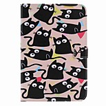 For Card Holder Wallet with Stand Auto Sleep/Wake Flip Pattern Case Full Body Case Cat Hard PU Leather for Apple iPad Mini 4 Mini 3/2/1