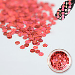 1 Bottle Fashion Sweet Watermelon-red Laser Glitter Stripe Round Paillette Beautiful Nail Glitter Decoration Nail DIY Beauty Shiny Thin Slice TW08