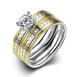 Concise Mixed Color Titanium Steel Imitation Drill 2 in 1 Band Wedding Ring Set Jewellery for Women Accessiories