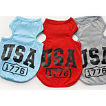 Dog Shirt / T-Shirt Vest Dog Clothes Summer Letter & Number Casual/Daily Gray Red Blue