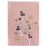 For Card Holder Wallet with Stand Flip Case Full Body Case Flower Hard PU Leather for Apple iPad 4/3/2