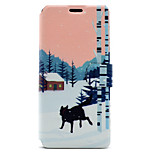 For Sony Xperia XA E5 Case Cover Snow Wolf Pattern HD Painted Voltage TPU Process PU Skin Phone Case Xperia C6 Ultra