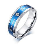 3A cubic zircon Stainless steel men's rings 6 mm blue with lettering forever ring male jewelry wholesale R-247