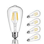 4W E27 Lâmpadas de Filamento de LED ST64 4 COB 360 lm Branco Quente Branco Frio Decorativa AC 220-240 V 5 pçs