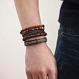 The New Vintage Cowhide Ancient Hand Woven Bracelet Cortical Layers Hand Rope Men's Bracelet Adjustable Size050