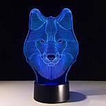 animaux loup décoration 3d conduit veilleuses lumières illusion chambre wolf adolescent coloré lampe de table design loup décor moderne