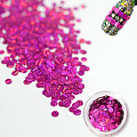 1 Bottle Fashion Sweet Rose Red Laser Glitter Stripe Round Paillette Beautiful Nail Glitter Decoration Nail DIY Beauty Shiny Clear Thin Slice TW07