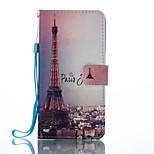 Für Geldbeutel Kreditkartenfächer mit Halterung Flipbare Hülle Muster Hülle Handyhülle für das ganze Handy Hülle Eiffelturm HartPU -