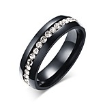 Ring Round Circle Daily Jewelry Steel Ring 1pc,5 6 7 8 9 10 11 12 13 Gold Black Silver