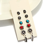 Stud Earrings Euramerican Fashion Vintage Alloy Flower Leaf Jewelry For Daily Casual 1set